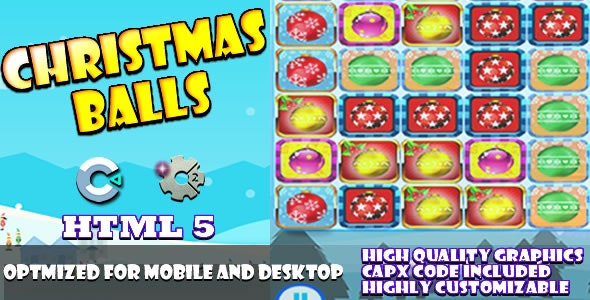 Christmas Balls - (C2, C3, HTML5) Game. - CodeCanyon Item for Sale