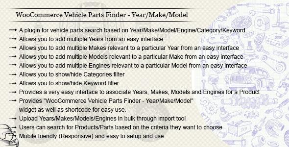 WooCommerce Vehicle Parts Finder - Year/Make/Model/Engine/Category/Keyword - CodeCanyon Item for Sale