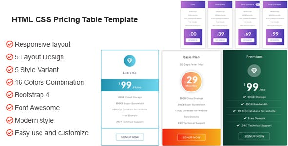 HTML CSS Bootstrap Pricing Table Template