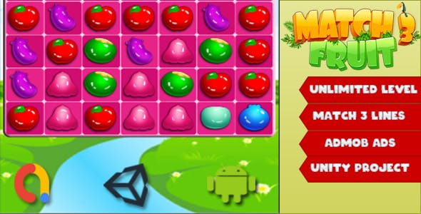 Match 3 Fruits Game - Unity Complete Project with Admob