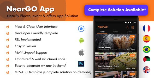 NearBy Places Android + iOS App Template |2 Apps Customer + Merchant | NearGo (HTML+CSS IONIC 3)