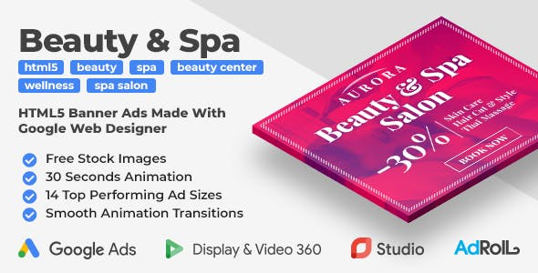 Aurora - Beauty & Spa Animated HTML5 Banner Ad Templates (GWD)