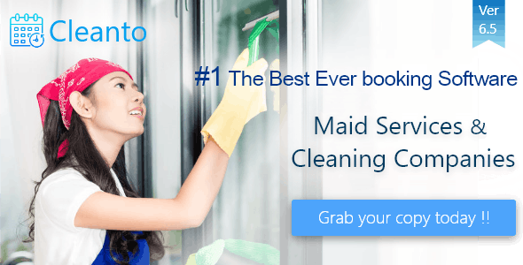 Online bookings management system for maid services and cleaning companies - Cleanto - CodeCanyon Item for Sale