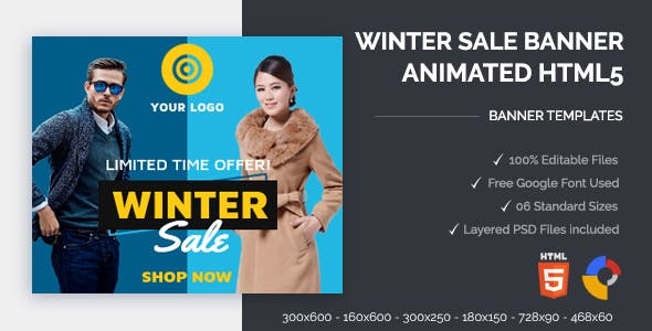 Winter Sale Banners Animated HTML5 Banner Ads (GWD)
