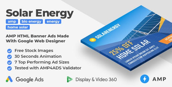 Solar Energy - Animated AMP HTML Banner Ad Templates (GWD, AMP)