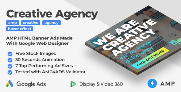 Creative Agency - Animated AMP HTML Banner Ad Templates (GWD, AMPHTML)