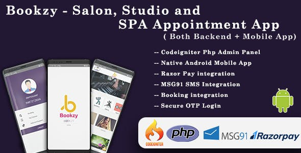 Bookzy - Salon, Studio and SPA Appointment App( Both Backend + Mobile App)