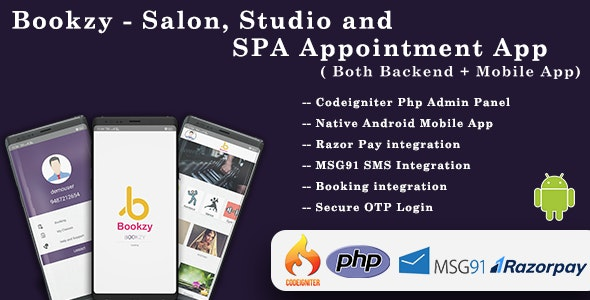 Bookzy - Salon, Studio and SPA Appointment App( Both Backend + Mobile App) - CodeCanyon Item for Sale