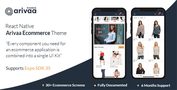 Arivaa E-Commerce (React Native and Expo 35) - CodeCanyon Item for Sale