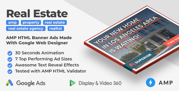Superior Real Estate AMP HTML Web Ad Banner Templates (GWD, AMP)