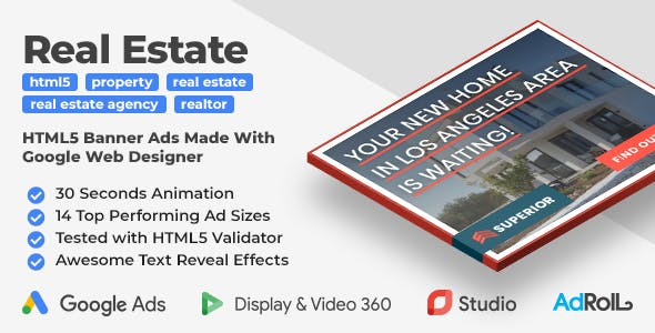 Superior Real Estate HTML5 Web Ad Banner Templates (GWD)
