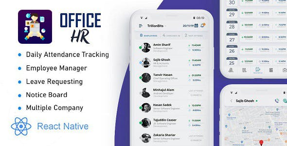 Office HR(React native expo mobile app): Attendance,Leave,Notice Board,Task,Leader Board