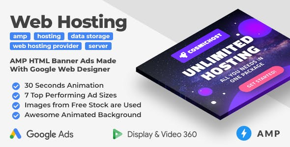 Cosmichost - Web Hosting Services AMP HTML Web Banner Templates (GWD, AMP)