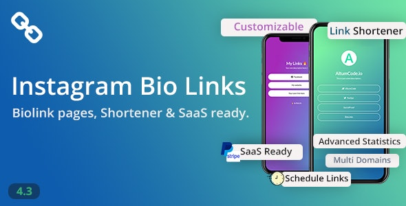 BioLinks - Instagram Bio Links & URL Shortener ( SaaS ) - CodeCanyon Item for Sale