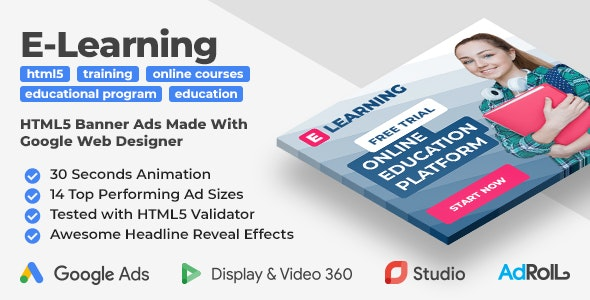 E-Learning - Online Education Web Banner Templates (GWD) - CodeCanyon Item for Sale