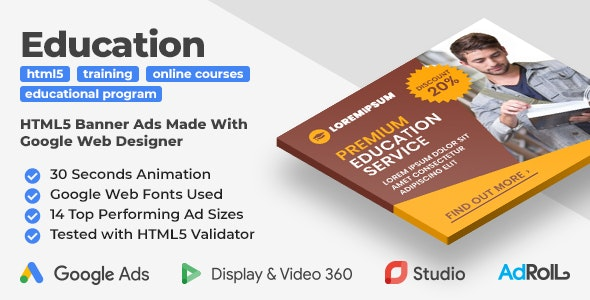 Education Program Web Banner Templates (GWD) - CodeCanyon Item for Sale