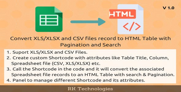 CSV, XLS/XLSX To HTML Table With Pagination and Search
