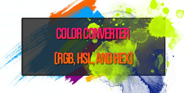 Color Converter (RGB, HSL, and HEX) HTML5 Canvas