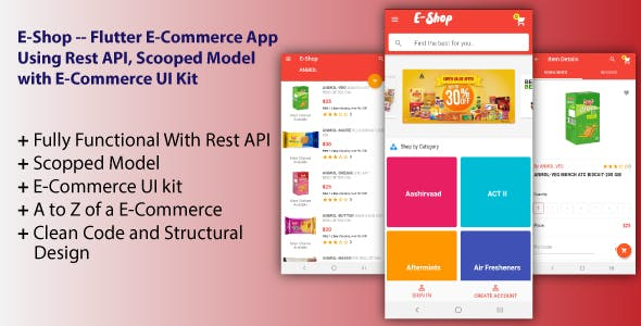 E-Shop -- Flutter E-Commerce App Using Rest API, Scooped Model with E-Commerce UI Kit