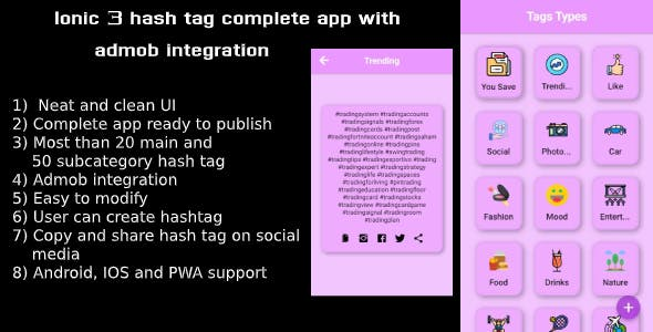 Ionic 3 hash tag complete app with ad mob integration(Android - IOS)