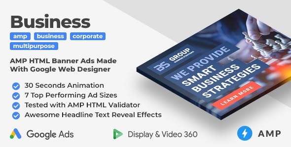 Business Strategy - Multipurpose Animated AMP HTML Banner Ad Templates (GWD, AMP)