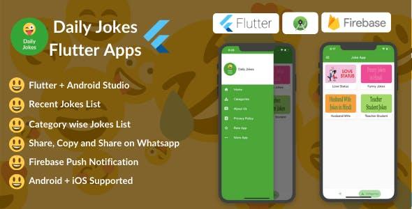 Flutter Daily Jokes App (Comedy, Funny, Joke, Flutter, iOS+Android)