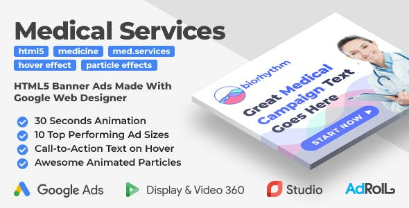 Biorhythm - Medical Services Animated HTML5 Banner Templates (GWD)