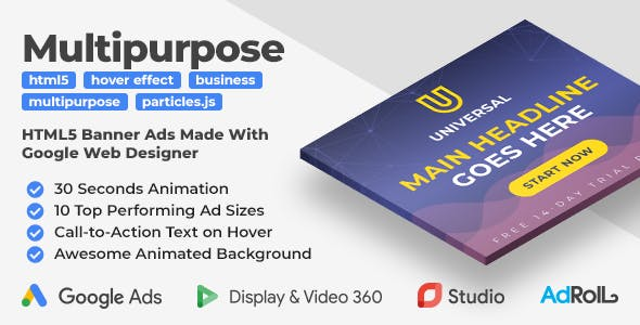 Universal -  Multipurpose Animated HTML5 Banner Templates (GWD)