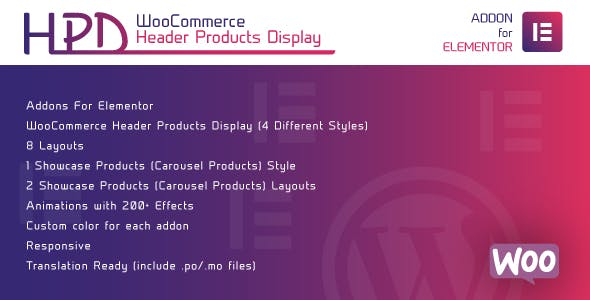 WooCommerce Header Products Display for Elementor - WordPress Plugin