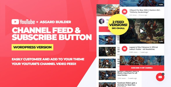 Youtube Channel Feeds and Subscribe Box WordPress Plugin - CodeCanyon Item for Sale
