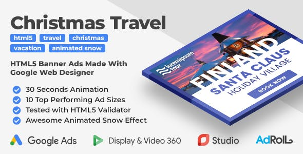 Christmas Travel -  Animated HTML5 Banner Templates (GWD)