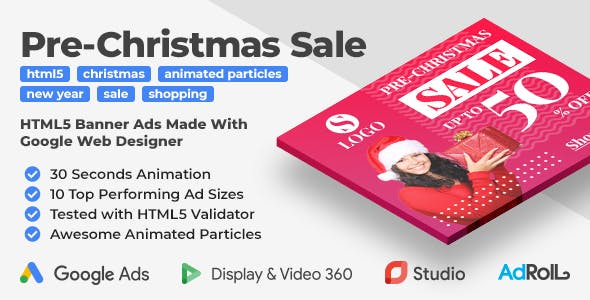 Pre-Christmas Sale - Shopping Animated HTML5 Banner Templates (GWD)