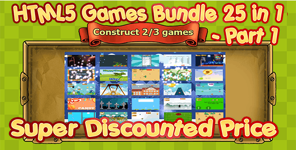 25 HTML5 GAMES BUNDLE (Construct 3 | Construct 2 | Capx) - CodeCanyon Item for Sale