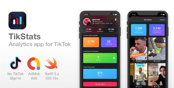 TikStats - iOS app for TikTok - Track followers, Top Videos
