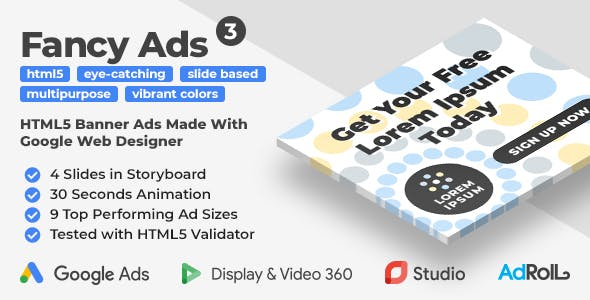 Fancy Ads 3 - Multipurpose Animated HTML5 Banner Ad Templates (GWD)
