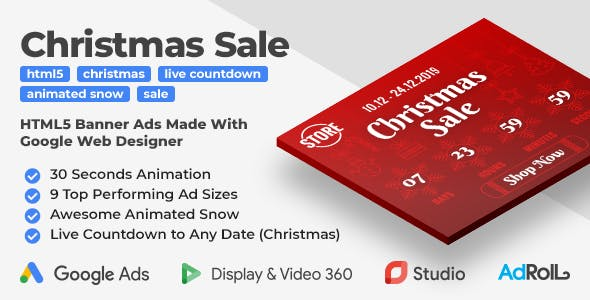 Christmas Sale - HTML5 Banners with Animated Snow and Live Countdown (GWD, jQuery)