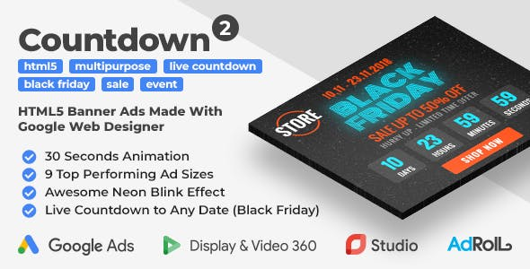 Countdown 2 - Event Promotion HTML5 Banners with Live Countdown (GWD, jQuery)