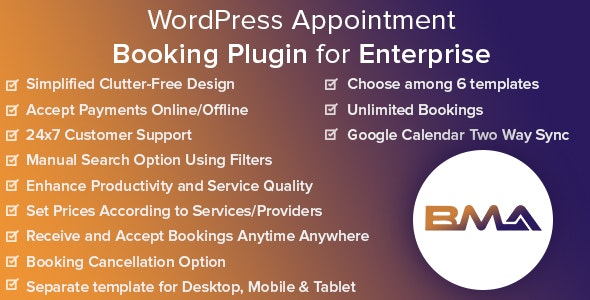 BMA - WordPress Appointment Booking Plugin for Enterprise - CodeCanyon Item for Sale