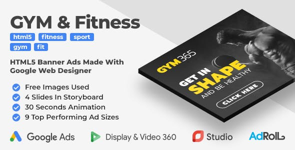 Gym365 - GYM & Fitness Animated HTML5 Banners (GWD)