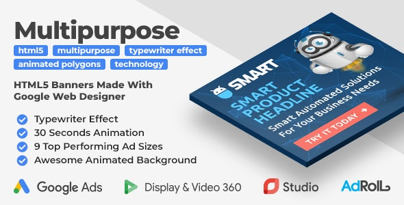 Smart - Multipurpose Animated HTML5 Banners with Typewriter Effect (GWD) - CodeCanyon Item for Sale