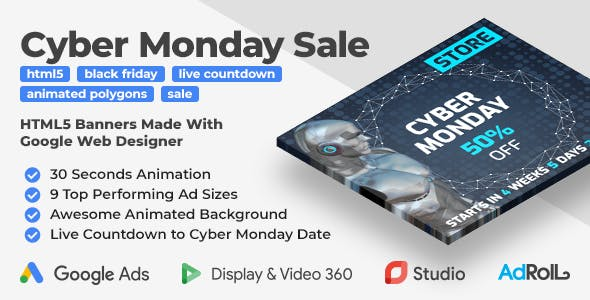 Cyber Monday Sale - Shopping HTML5 Banners with Live Countdown (GWD, jQuery)