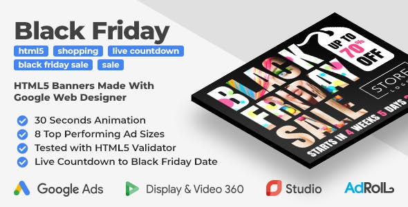 Black Friday Sale - Shopping HTML5 Banners with Live Countdown (GWD, jQuery)
