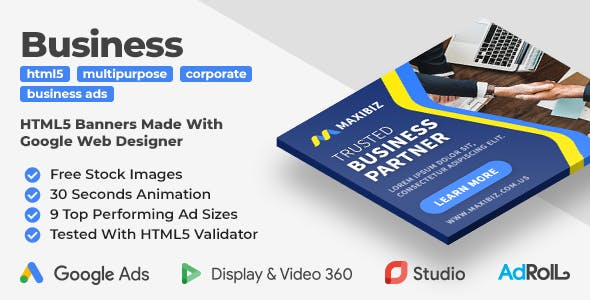 Maxibiz - Multipurpose Business HTML5 Banners (GWD)