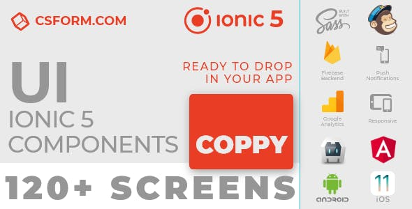 Coppy | Ionic 5 / Angular 8 UI Theme / Template App | Multipurpose Starter App