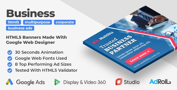 Multibiz - Multipurpose Business HTML5 Banner Ad Templates (GWD) - CodeCanyon Item for Sale