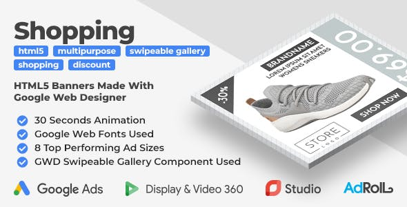 Shopping HTML5 Banners with GWD Swipeable Gallery