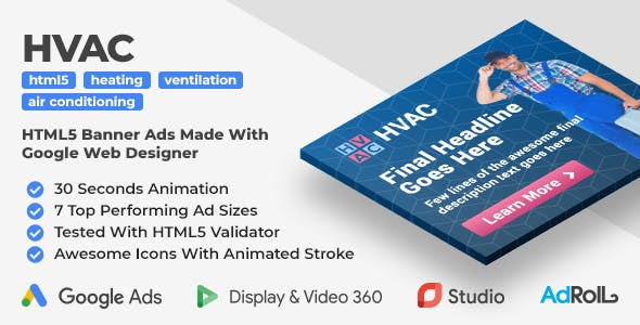 HVAC - Heating, Ventilation, Air Conditioning Company HTML5 Banner Ad Templates (GWD)