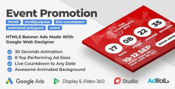 The Conference - Event Promotion Banner Ad Templates with Live Countdown (GWD, jQuery)
