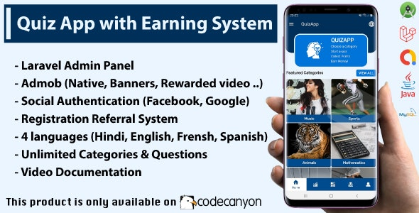 Quiz App with Earning System + Admin Panel - CodeCanyon Item for Sale