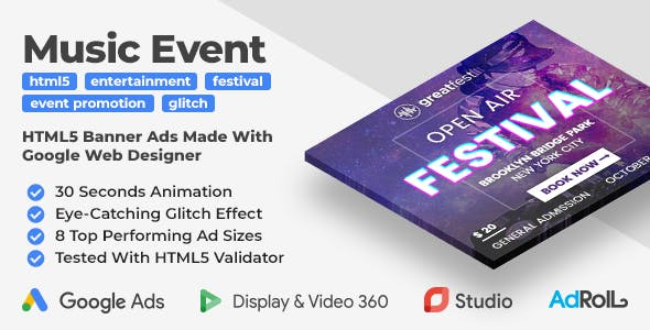 Greatfest - Music Event Banner Ad Templates (GWD)